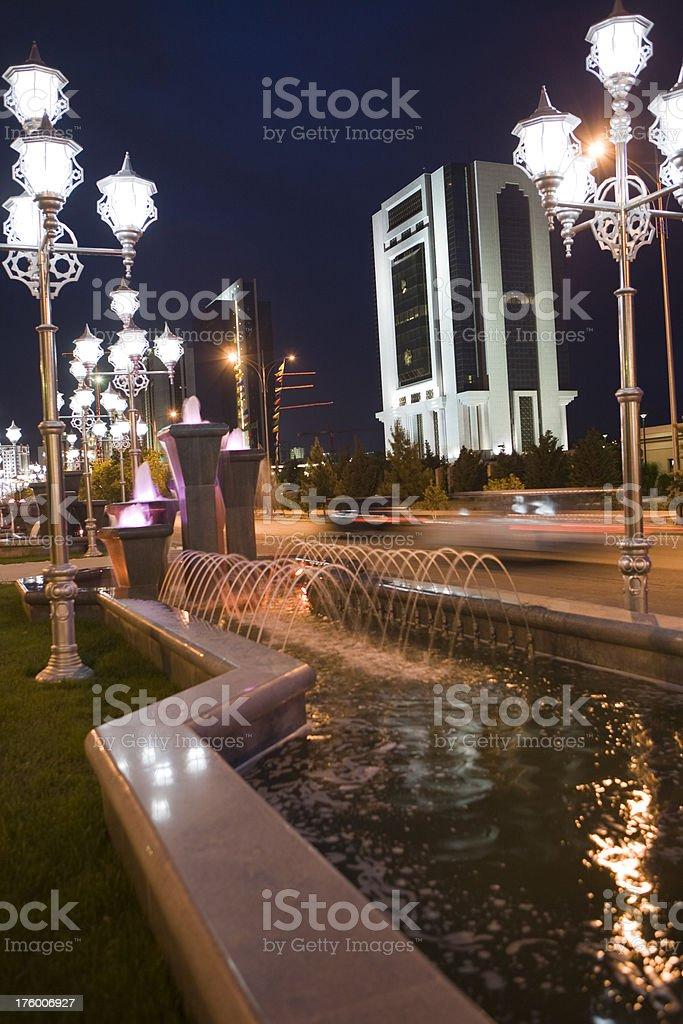Turkmenistan-Ashgabat The city lights stock photo
