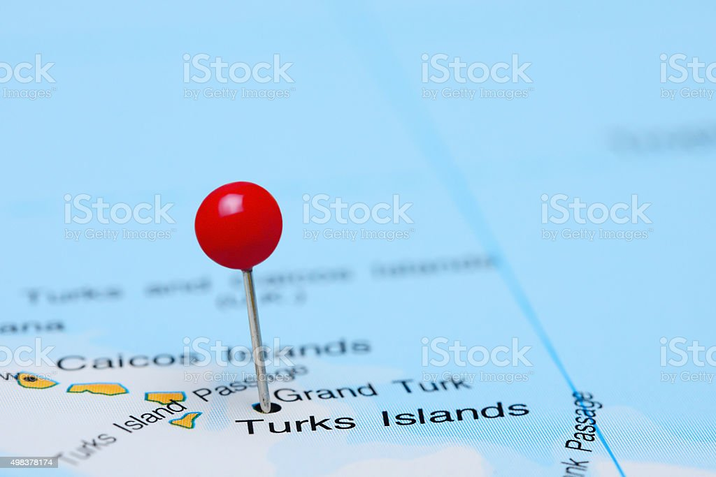 Turks Islands pinned on a map of America stock photo