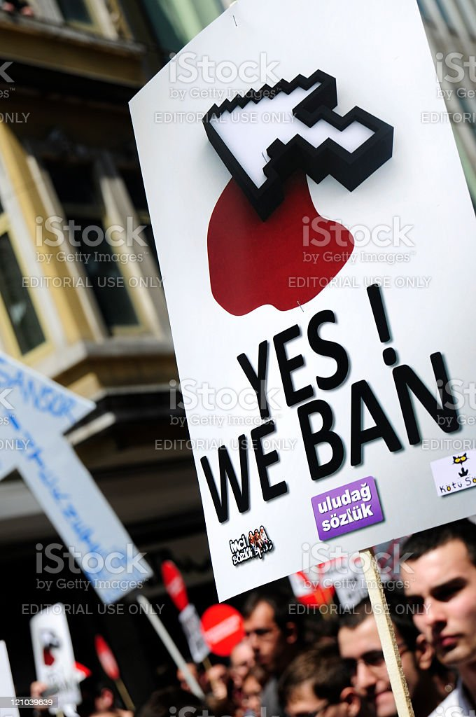 Turks Protest Internet Censorship in Istanbul royalty-free stock photo