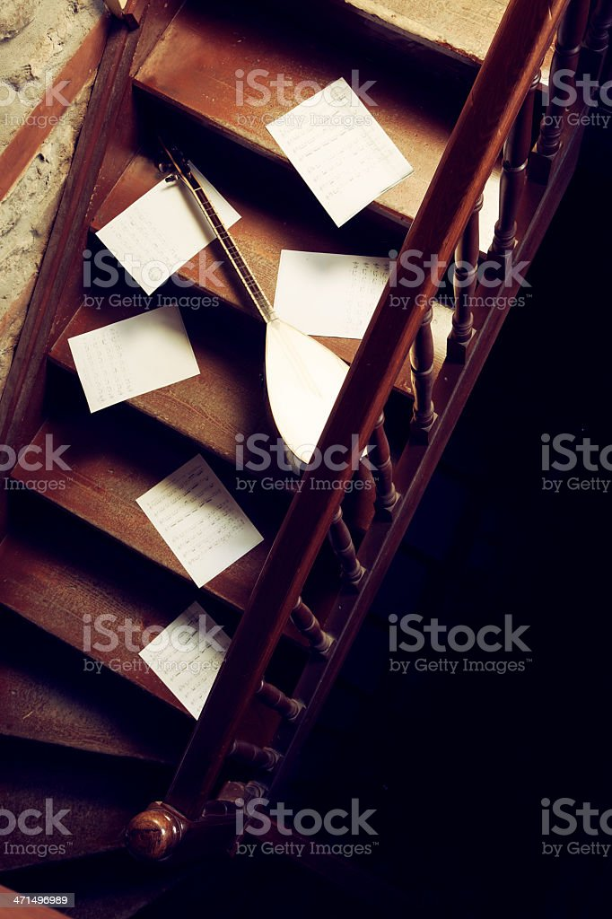 Turkısh Instrument and note paper stock photo