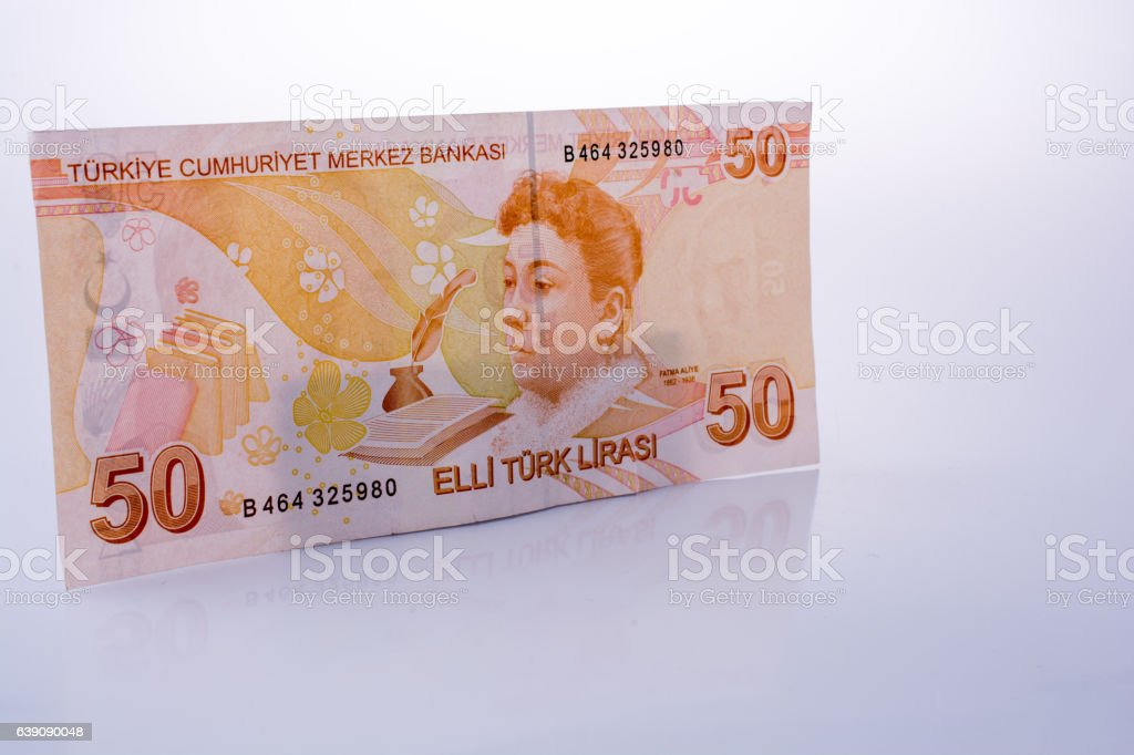 Turksh Lira banknotes of 50  on white background stock photo