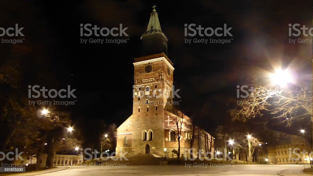 Turku Cathedral in the gloom stock photo