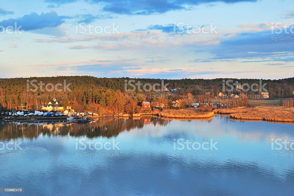 Turku environs at sunset royalty-free stock photo