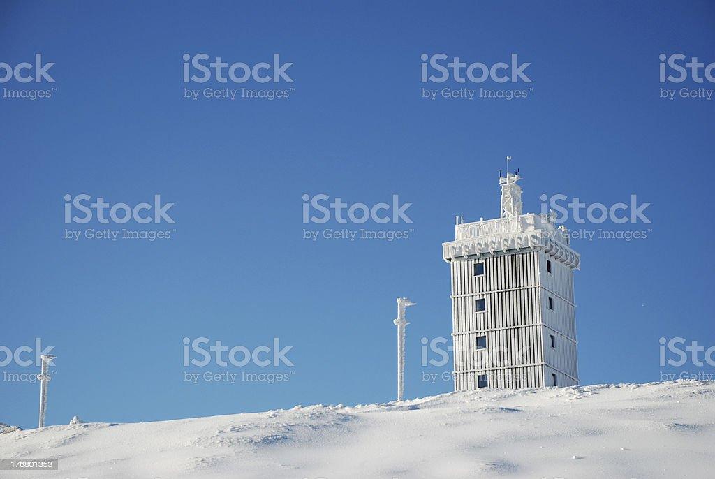 Turm auf dem Brockengipfel stock photo