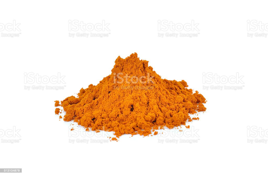 turmeric powder on white background stock photo