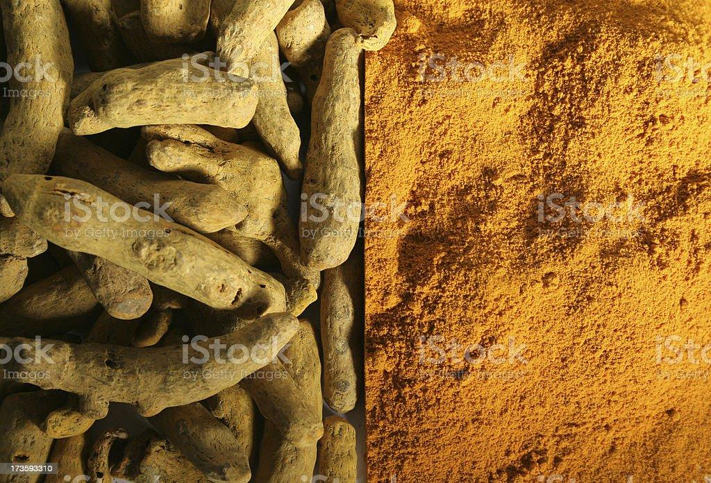 Turmeric Root and Powder royalty-free stock photo