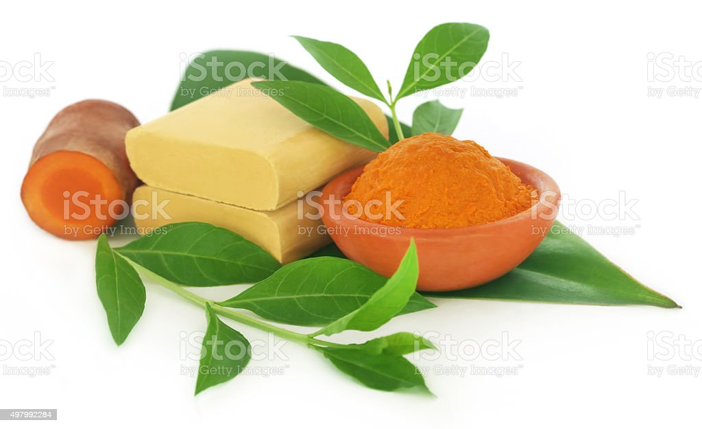 Turmeric with over beautification products stock photo