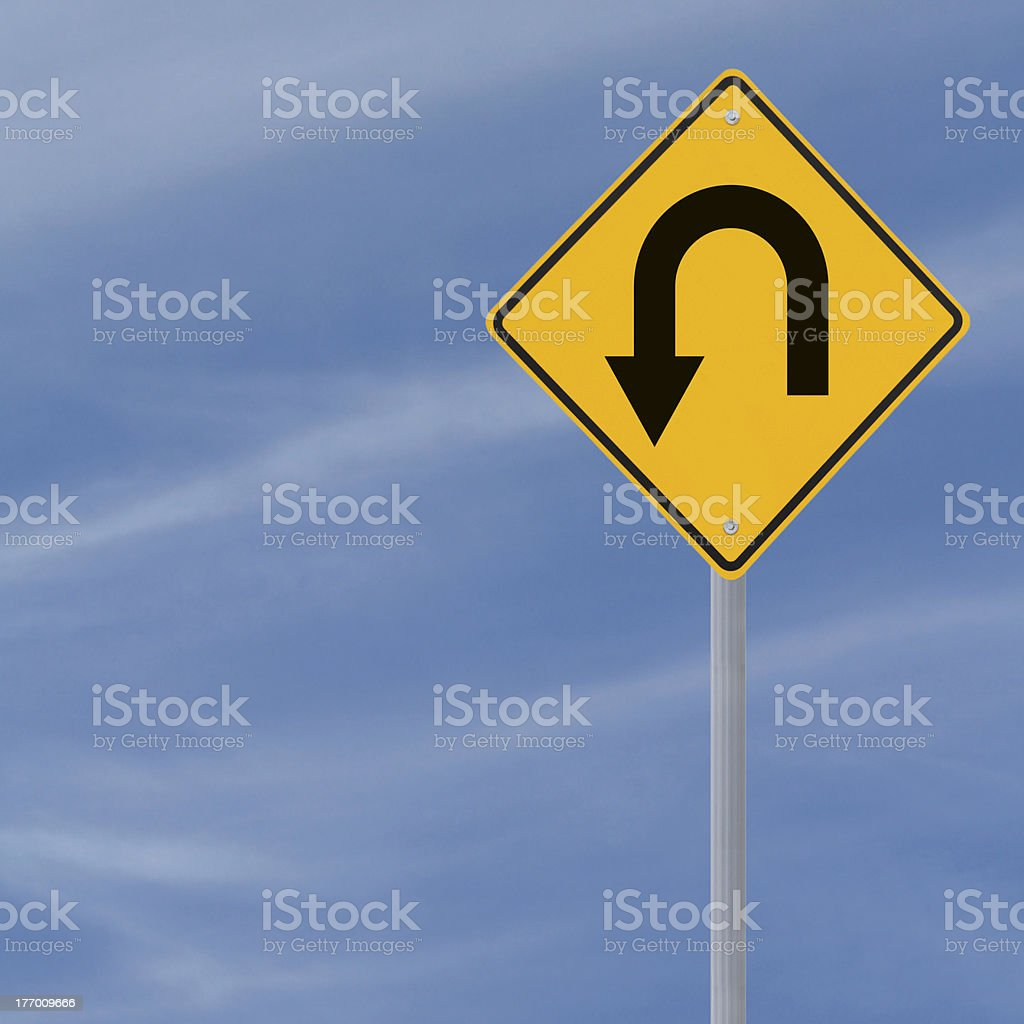U Turn Ahead Road Sign stock photo