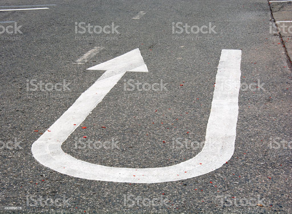 Turn arrow Road sign stock photo
