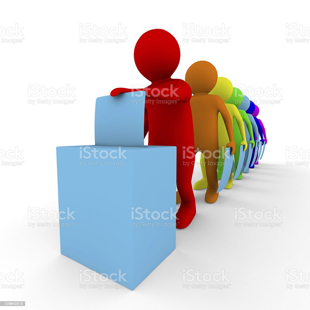 Turn for voting on white. Isolated 3D image stock photo