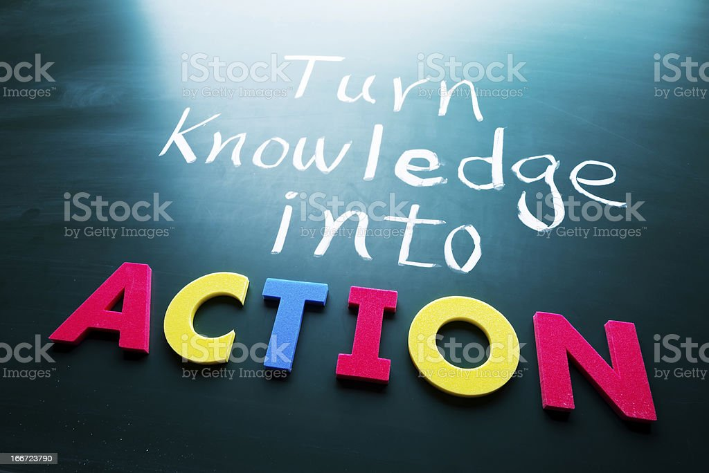 Turn knowledge into action quote stock photo