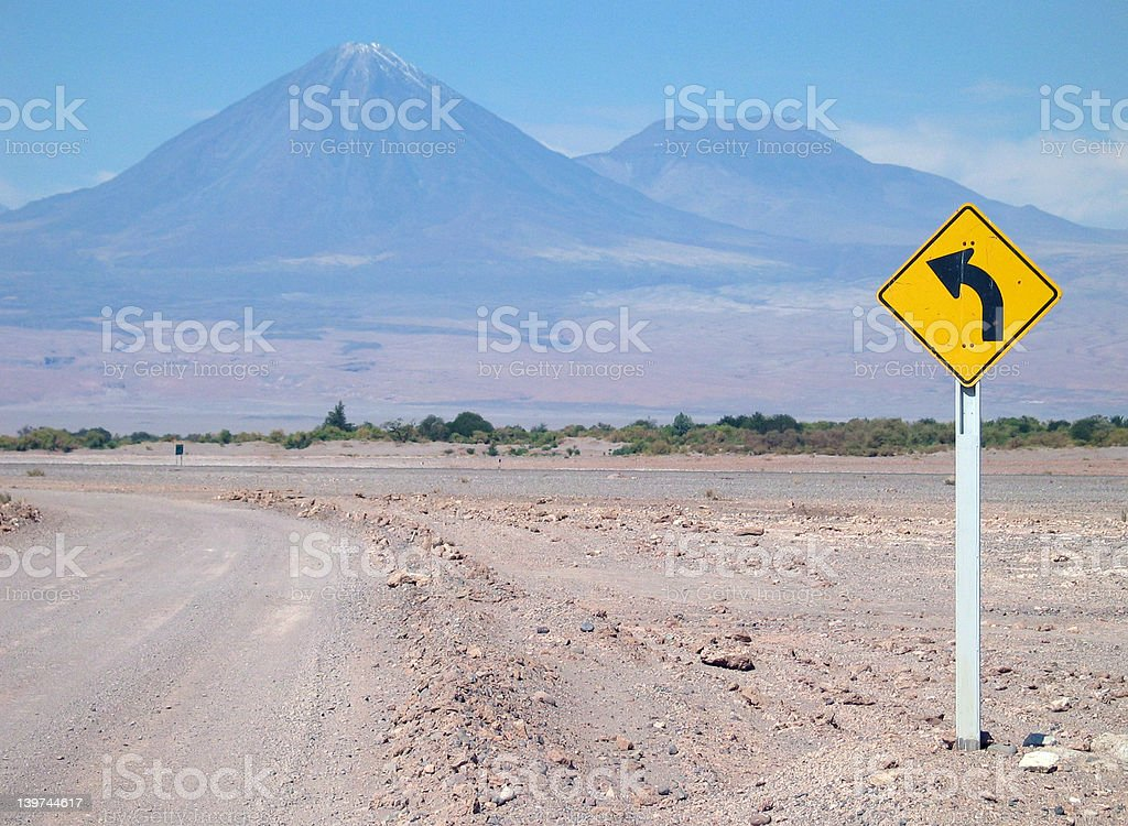 Turn left at Lincancabur stock photo