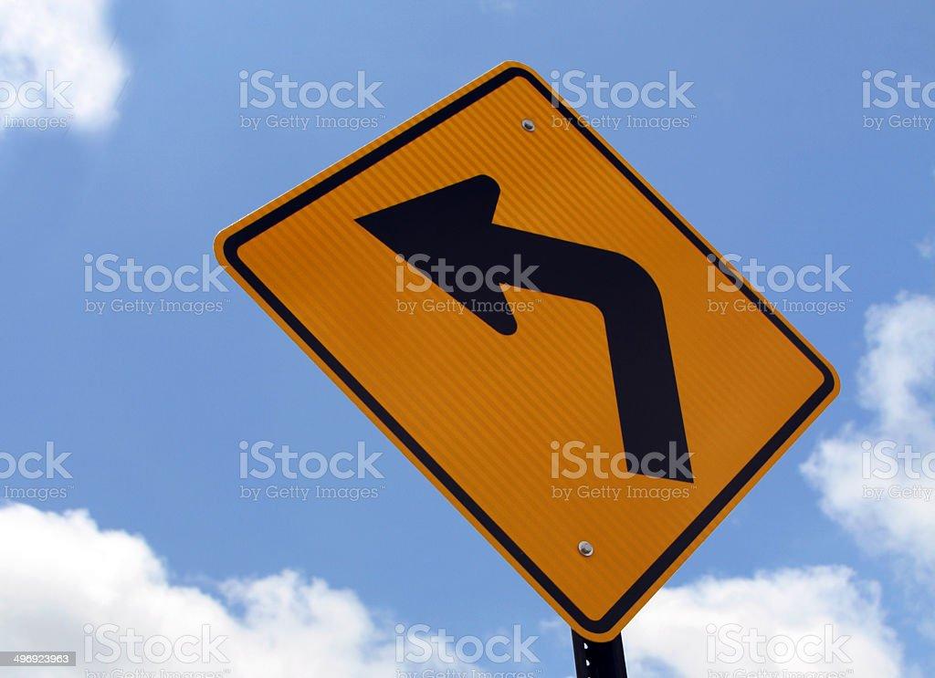 Turn lest sign & Orange Turn Left sign stock photo