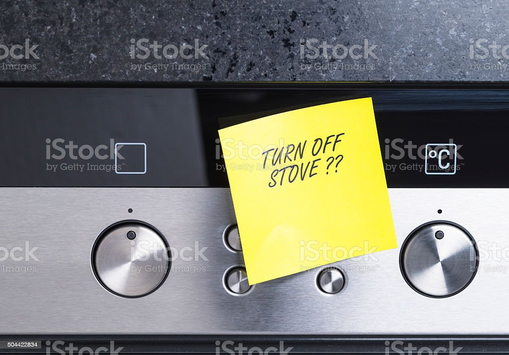 Turn off stove stock photo