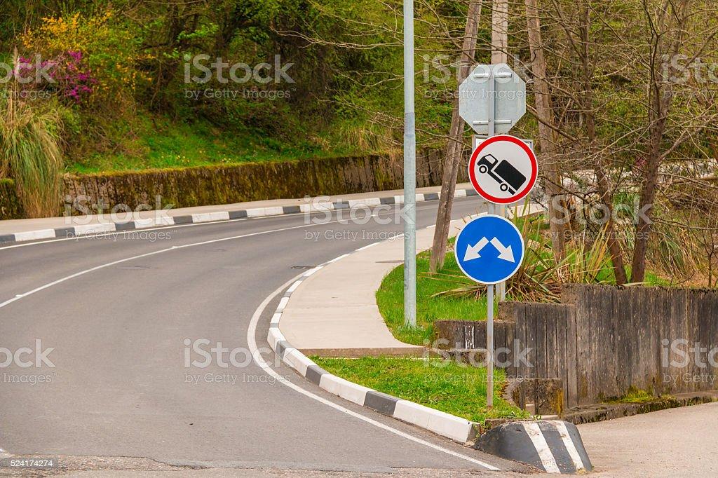 Turn on mountain road stock photo