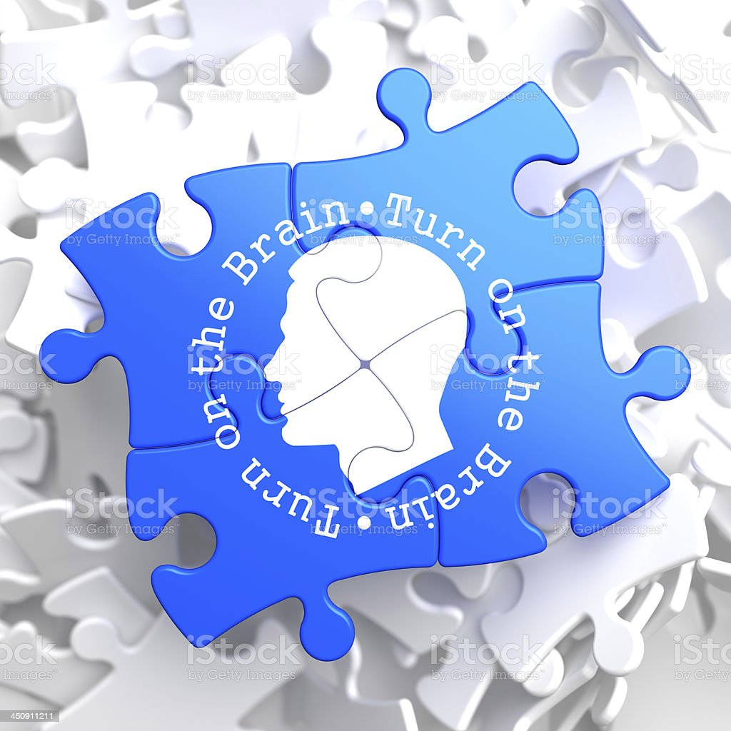 Turn On the Brain: Blue Puzzle. royalty-free stock photo