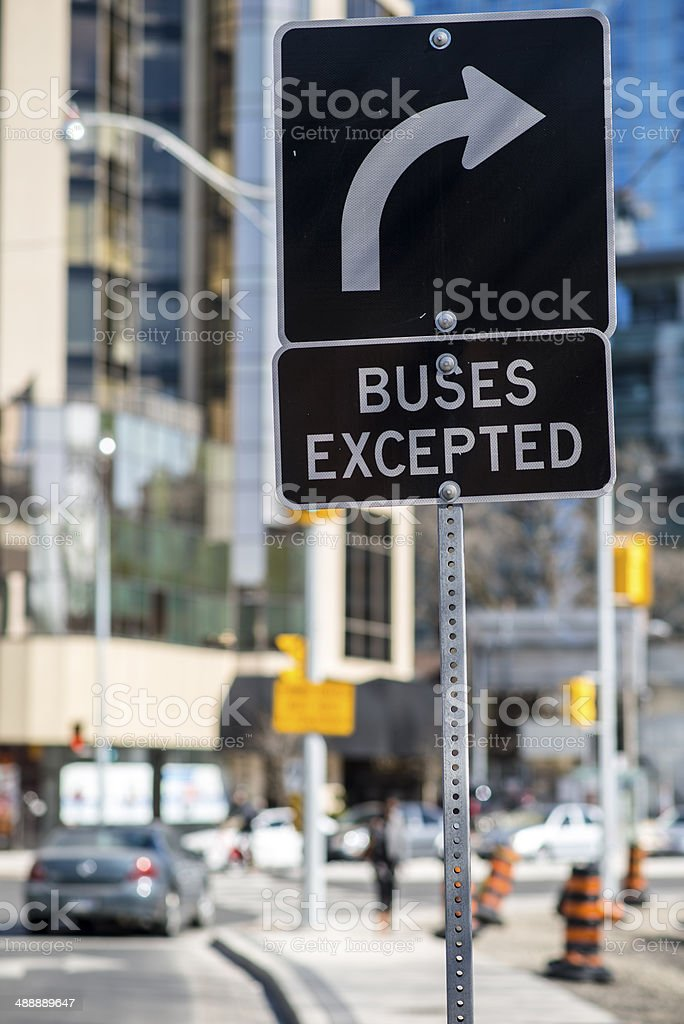 Turn right except for bus stock photo