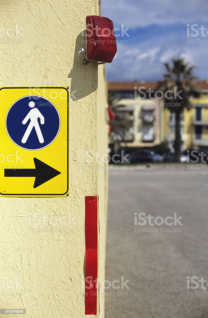 Turn right - Street sign for pedestrians royalty-free stock photo