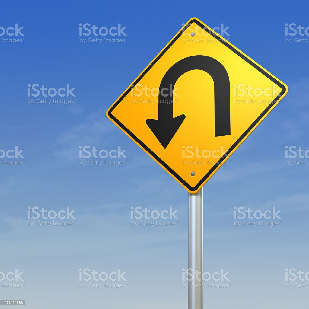 U turn Road Warning Sign royalty-free stock photo