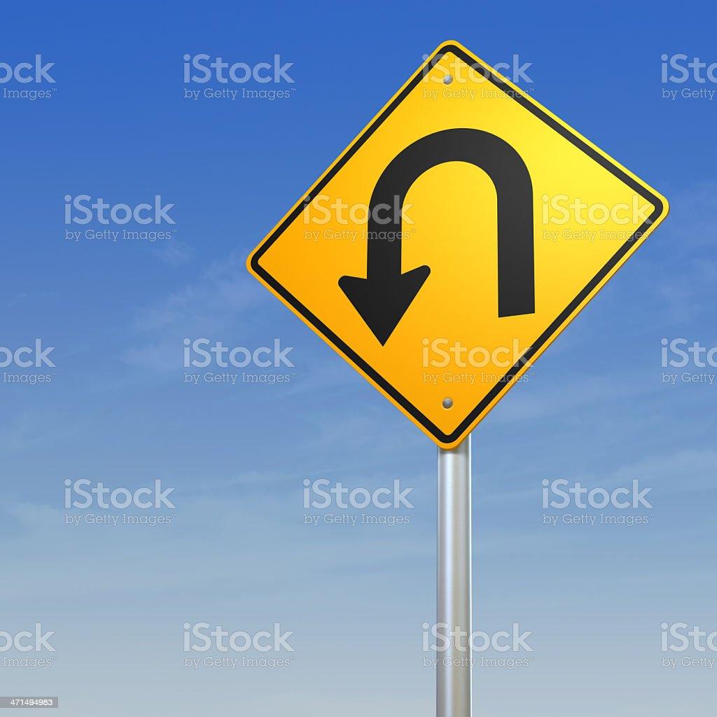 U turn Road Warning Sign stock photo