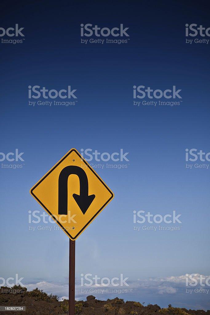 U Turn with copyspace stock photo