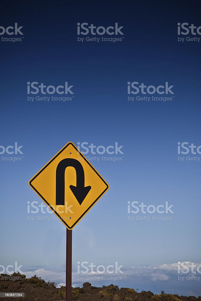 U Turn with copyspace stock photo