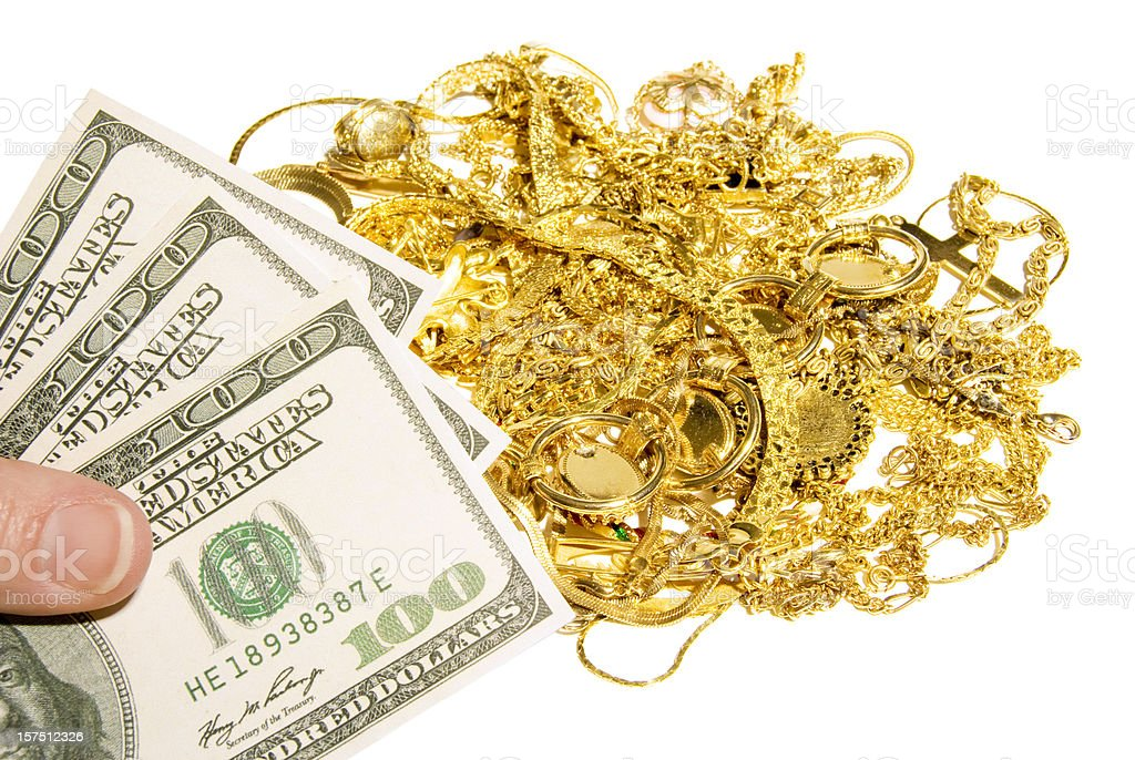 Turn Your Old Gold Jewelry Into Cash stock photo