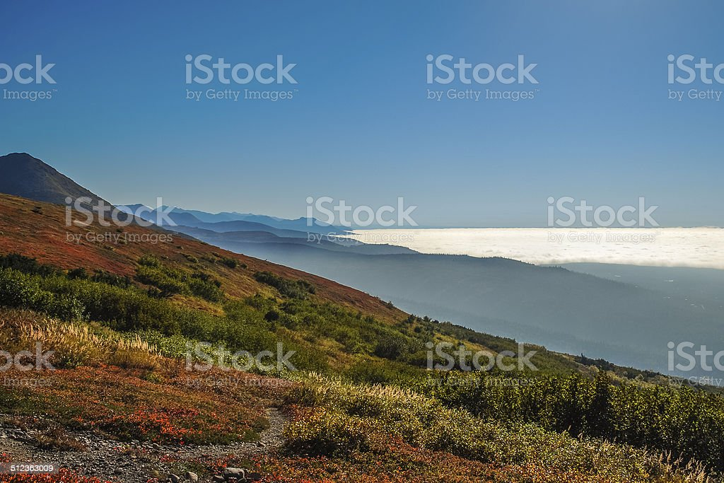 Turnagain Arm, blanketed in fog and clouds stock photo