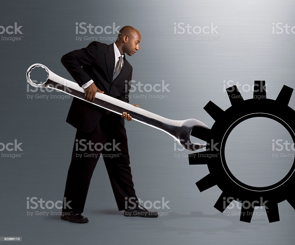 Turning a Gear stock photo