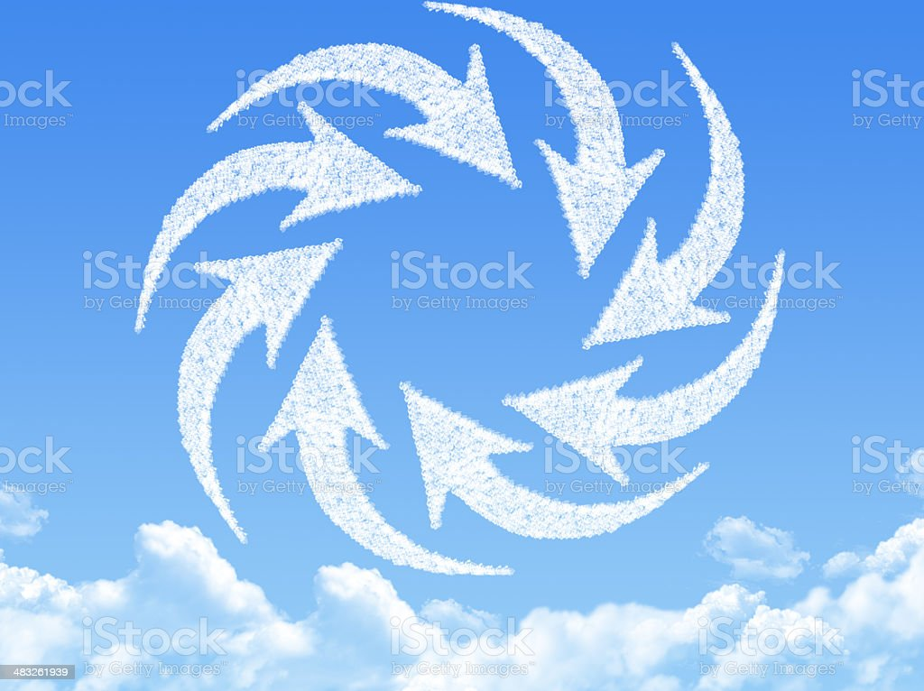 turning arrows shaped cloud stock photo