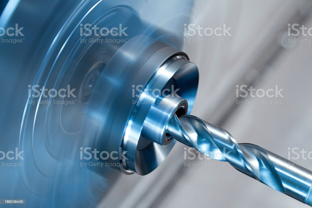 CNC turning drilling. stock photo