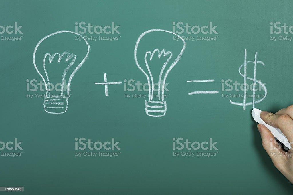 Turning ideas into cash stock photo
