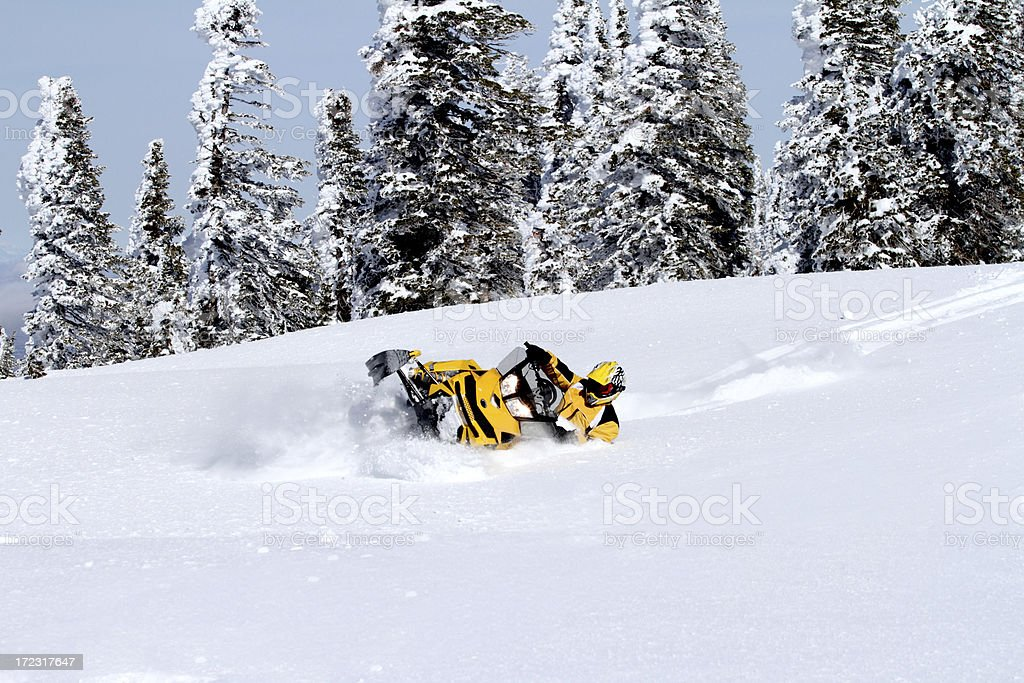 turning in the deep powder royalty-free stock photo