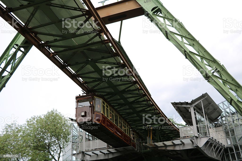 Turning loop of suspension railway in Wuppertal, Germany stock photo