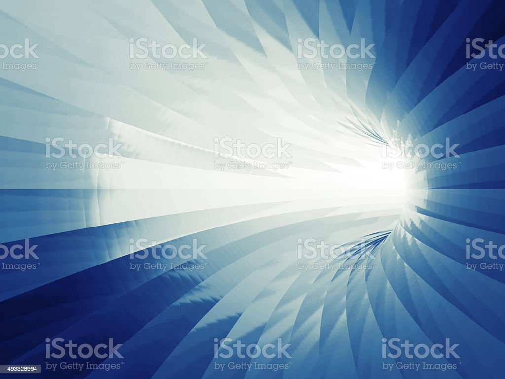 Turning shining tunnel interior. 3d illustration stock photo