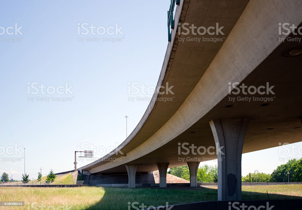 Turning the highway overpass with gentle radius for smooth movement stock photo