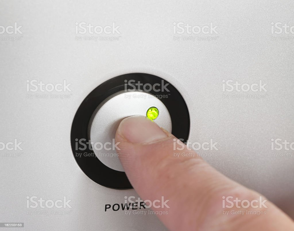Turning the power on or off stock photo