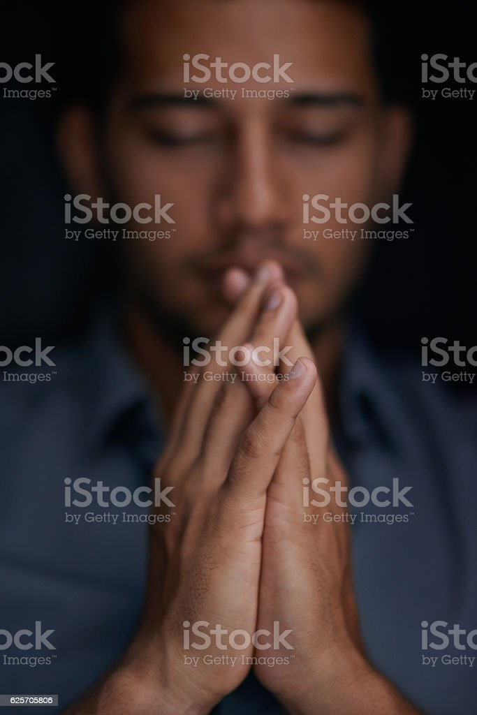 Turning to faith to find some hope and comfort stock photo