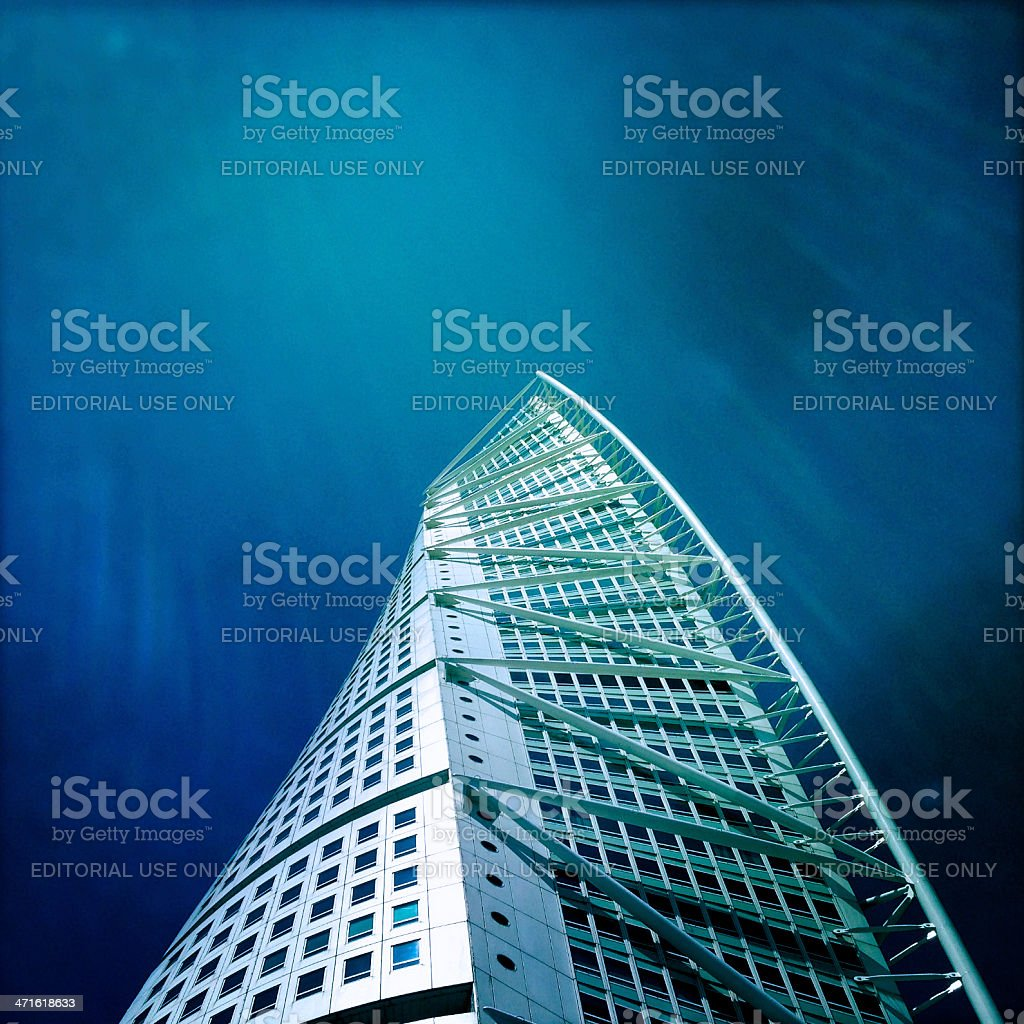 Turning Torso with sunbeams stock photo