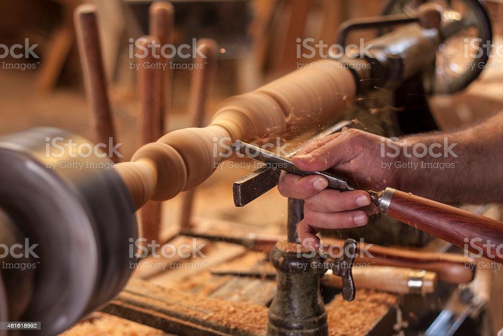 turning wood stock photo