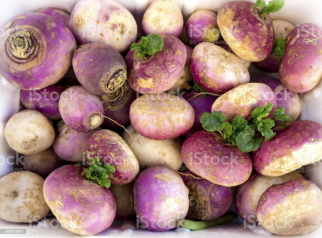 Turnips for sale at a farmer's market stock photo