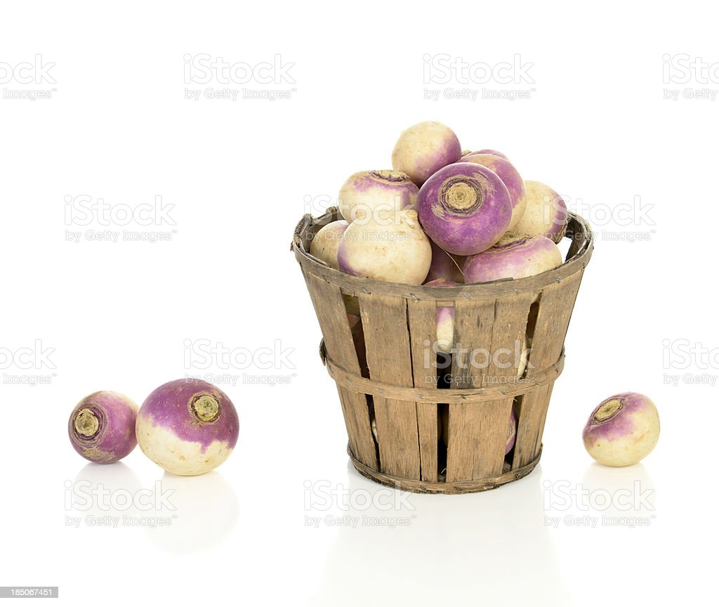 Turnips in a Rustic Basket stock photo