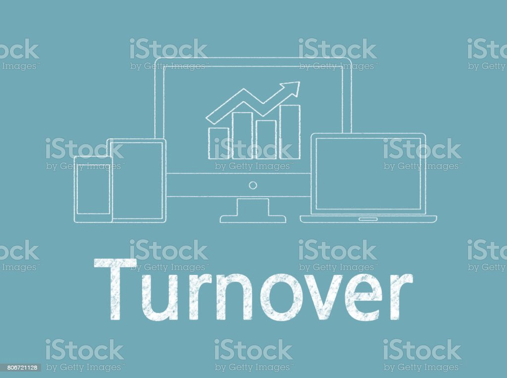 Turnover - Business Chalkboard Background stock photo