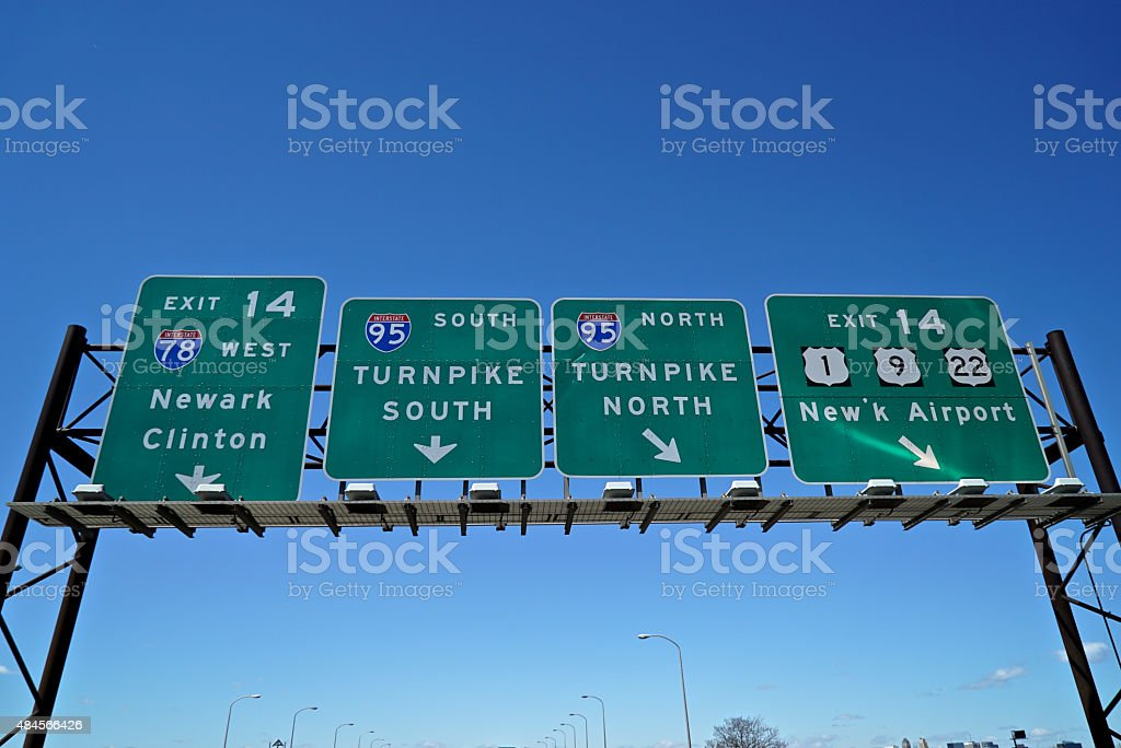 NJ Turnpike Signs stock photo