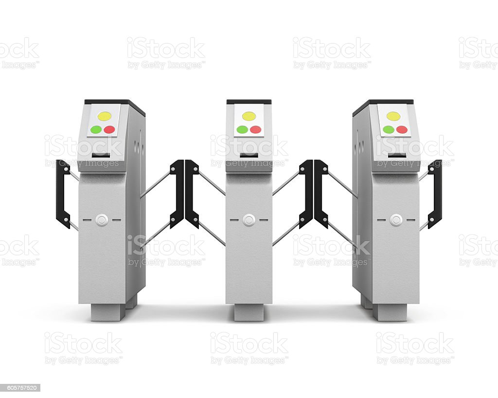 Turnstile front isolated on white background. 3d rendering stock photo