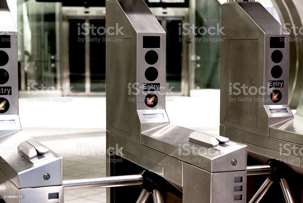 Turnstile in New York Subway stock photo