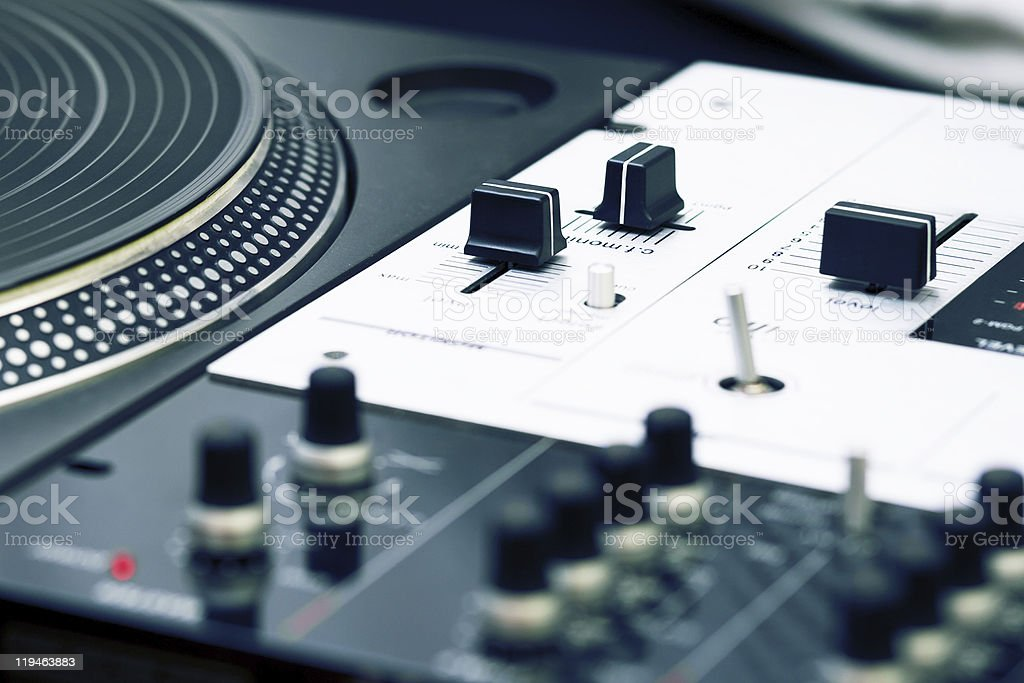 Turntable and mixing controller stock photo