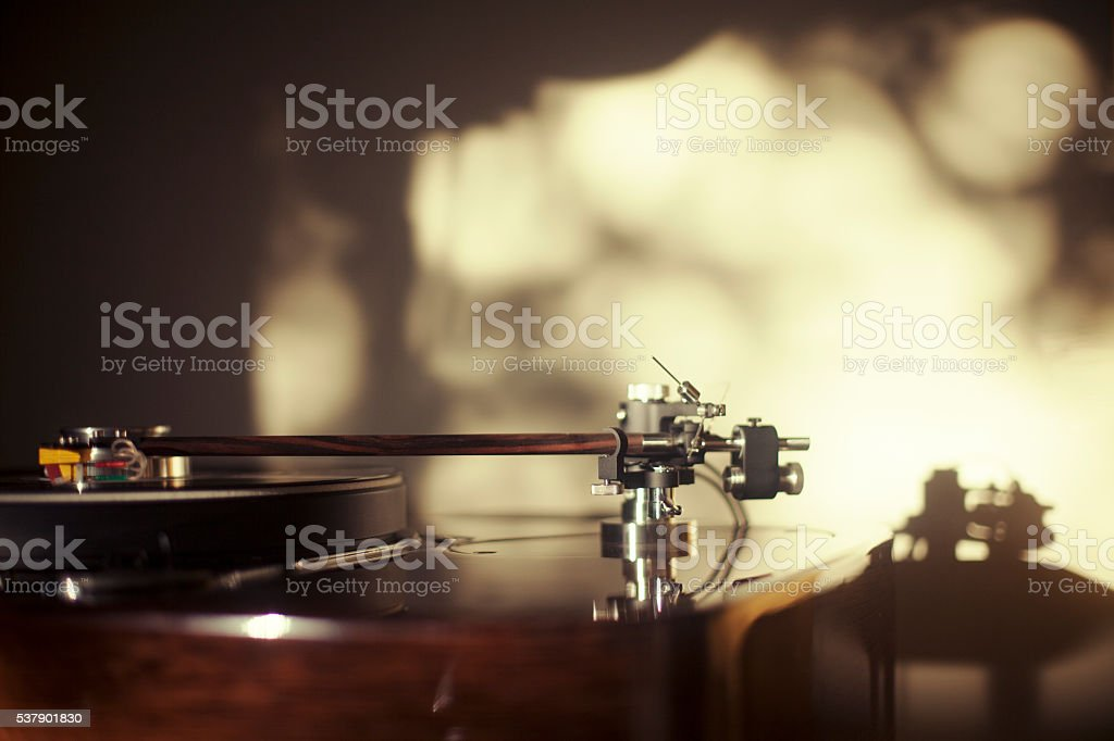 Turntable and tone arm stock photo