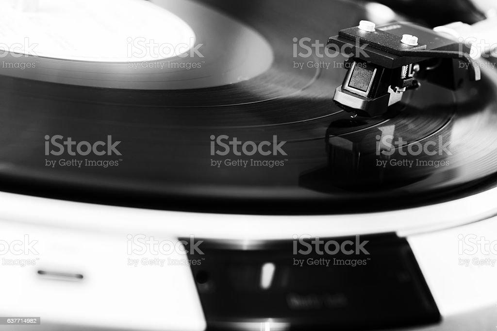 turntable black vinyl Headshell Cartridge closeup stock photo