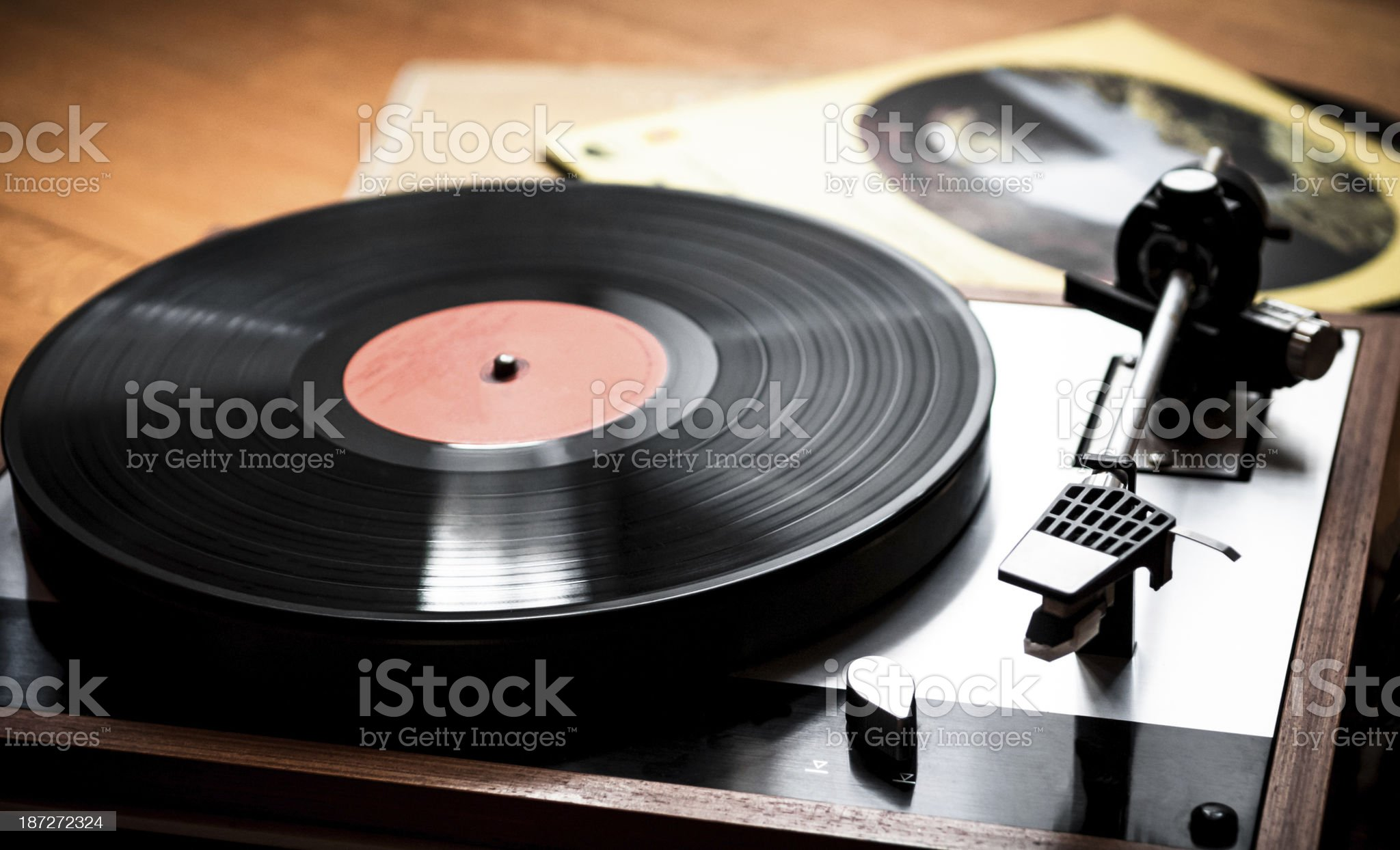 Turntable head on a LP royalty-free stock photo